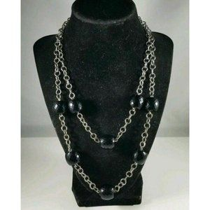 Express Silvertone Bead Double Strand Necklace